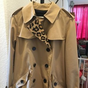 FIRM COACH LEOPARD BLOCK SHORT Trench Coat RARE